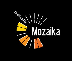Mozaika logotipas spalvotas geltonai-raudonas - baltas ir juodas